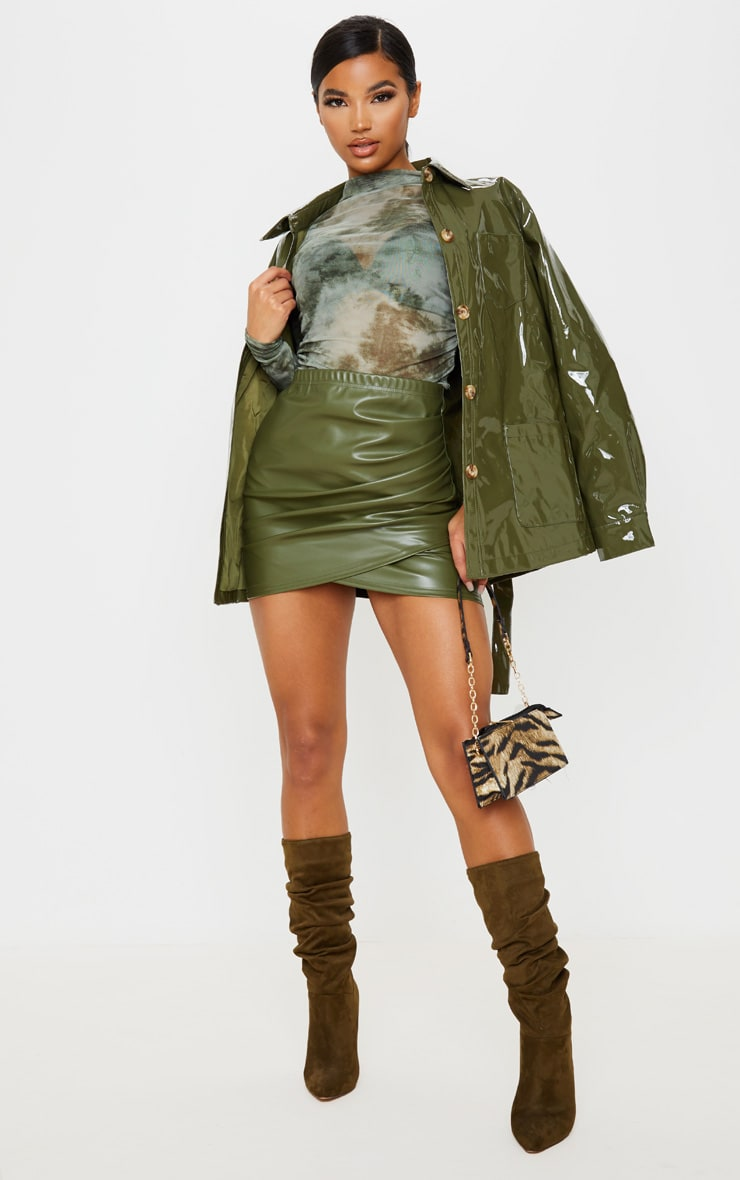 Khaki Faux Leather Ruched Wrap Skirt, Green