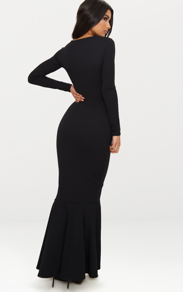 Black Cut Out Detail Long Sleeve Fishtail Maxi Dress 2