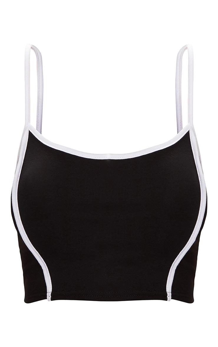 Crop top noir à bretelles et coutures blanches  3