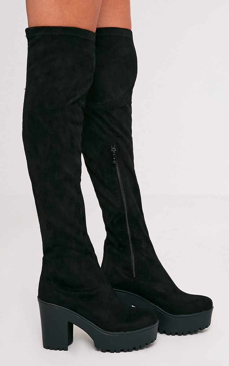 Teresa Black Cleated Platform Over the Knee Boot 3