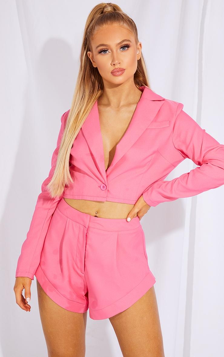 Hot Pink Pocket Button Cropped Blazer 1