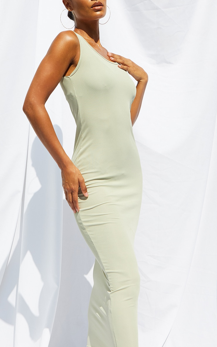 Sage Green Basic Rib Maxi Dress 4