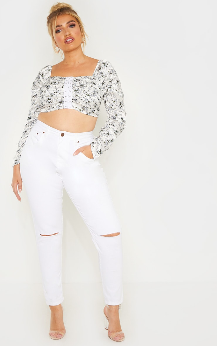 483a010d94a Plus White Ditsy Floral Ruched Lace Up Detail Crop Top