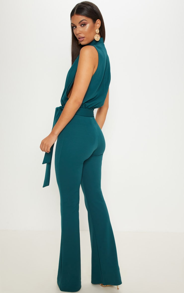 Emerald Green Scuba High Neck Tie Waist Jumpsuit 2