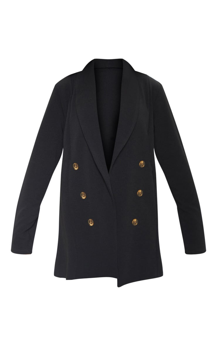 Black Oversized Button Detail Blazer 3