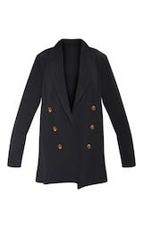 Black Oversized Button Detail Blazer 3