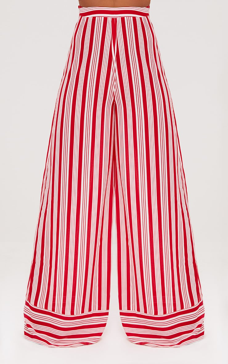 Red Contrast Stripe Mix Wide Leg Trousers 2