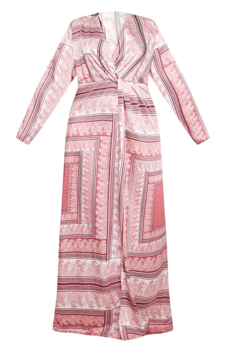 Plus Pink Scarf Print Twist Front Maxi Dress 3
