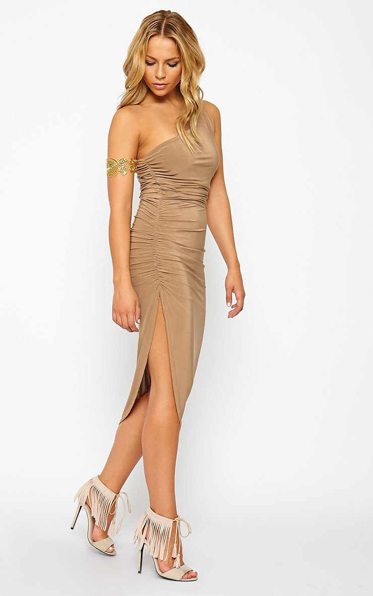 Lourdes Camel One Shoulder Side Ruched Dress 1