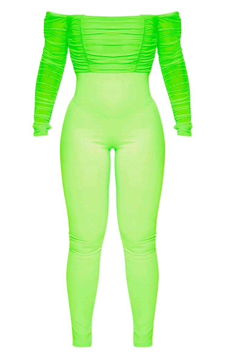 Neon Lime Mesh Bardot Long Sleeve Jumpsuit  3