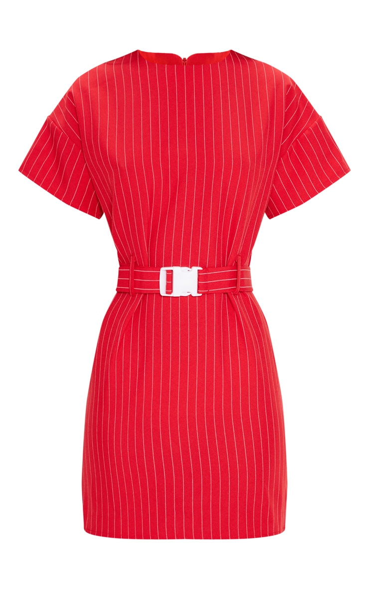 Red Pin Stripe Belt T Shirt Dress 4