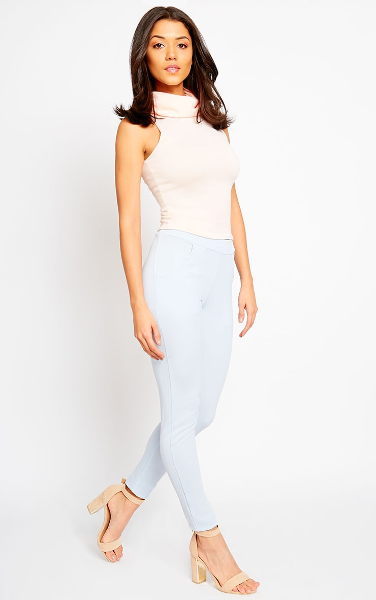 Sage Powder Blue Crepe Cigarette Trousers 6