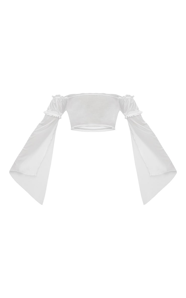 White Frill Detail Long Sleeved Bardot Beach Top 3