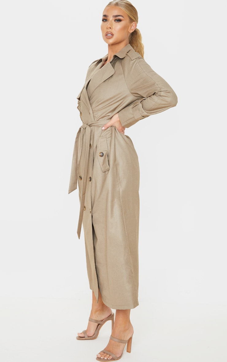 Stone Woven Oversized Trench Coat 4