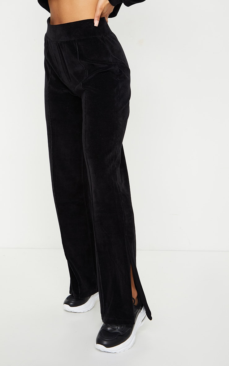 Black Velour Seam Detail Wide Leg Jogger 2