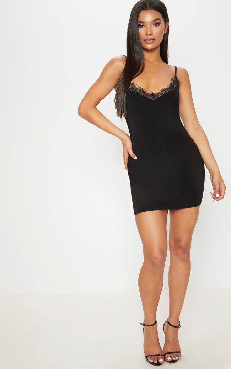 Black Strappy Lace Insert Bodycon Dress 4