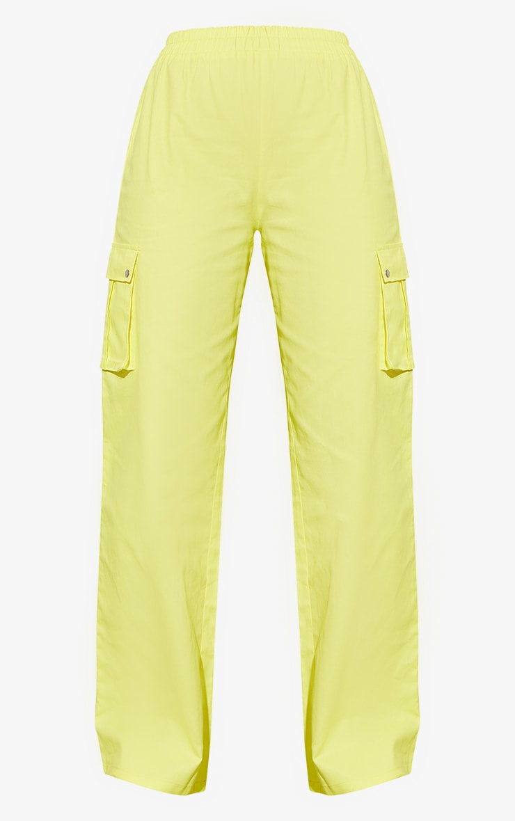 Lemon Yellow Wide Leg Cargo Pants 5