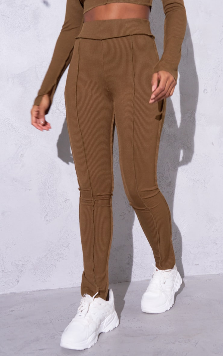 RENEW Chocolate Brown Split Hem Seam Detail Leggings 2