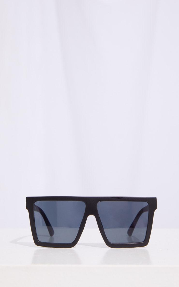 Black Matte Oversized Flat Bar Sunglasses 2