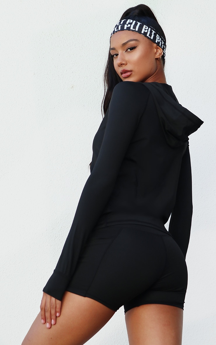 Black Zip Through Hooded Gym Top 2