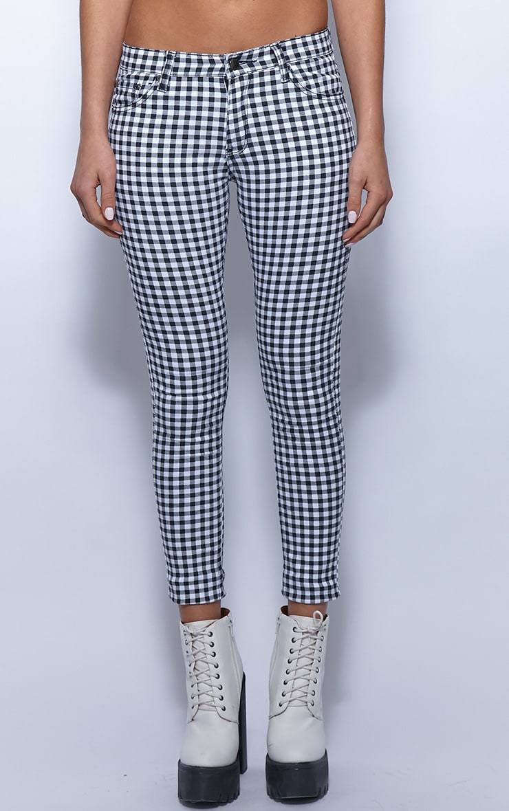 Kimmy Monochrome Checked Ankle Grazer Skinny Jeans 3