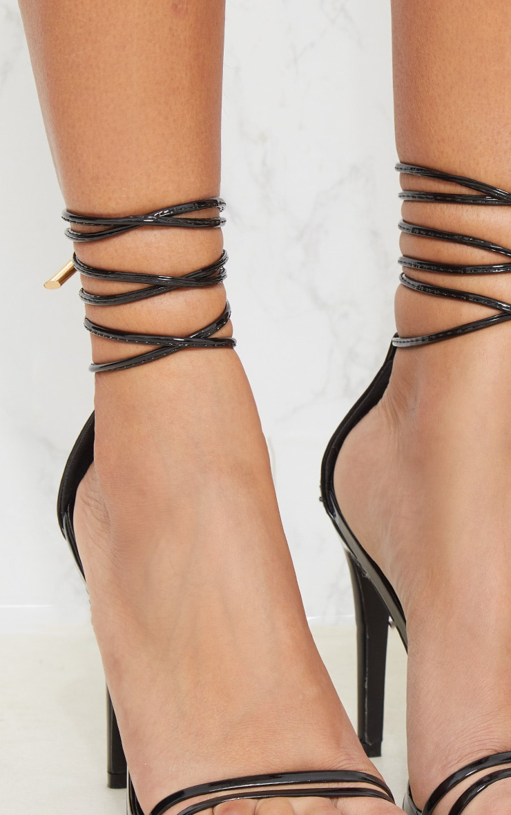 Black Strappy Barely There Ankle Tie Sandal 4