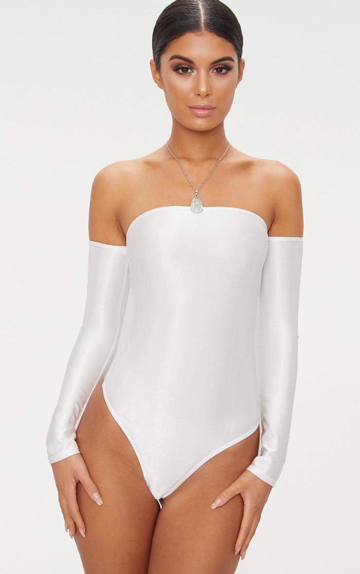 Cream Slinky Shimmer Long Sleeve Bardot Thong Bodysuit  2