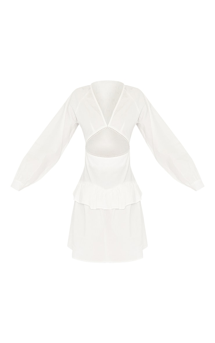 Tall White Cut Out Frill Detail Poplin Dress 5