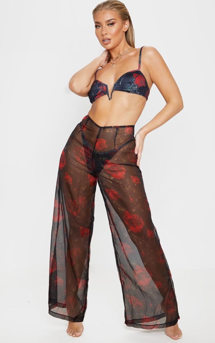 Black Rose Print Wide Leg Beach Pants 1