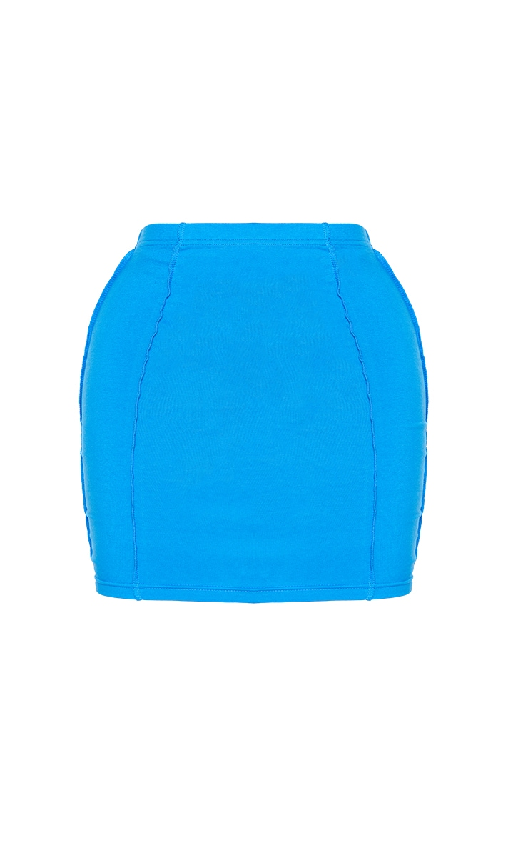 Recycled Shape Bright Blue Cotton Overlock Detail Bodycon Skirt 6