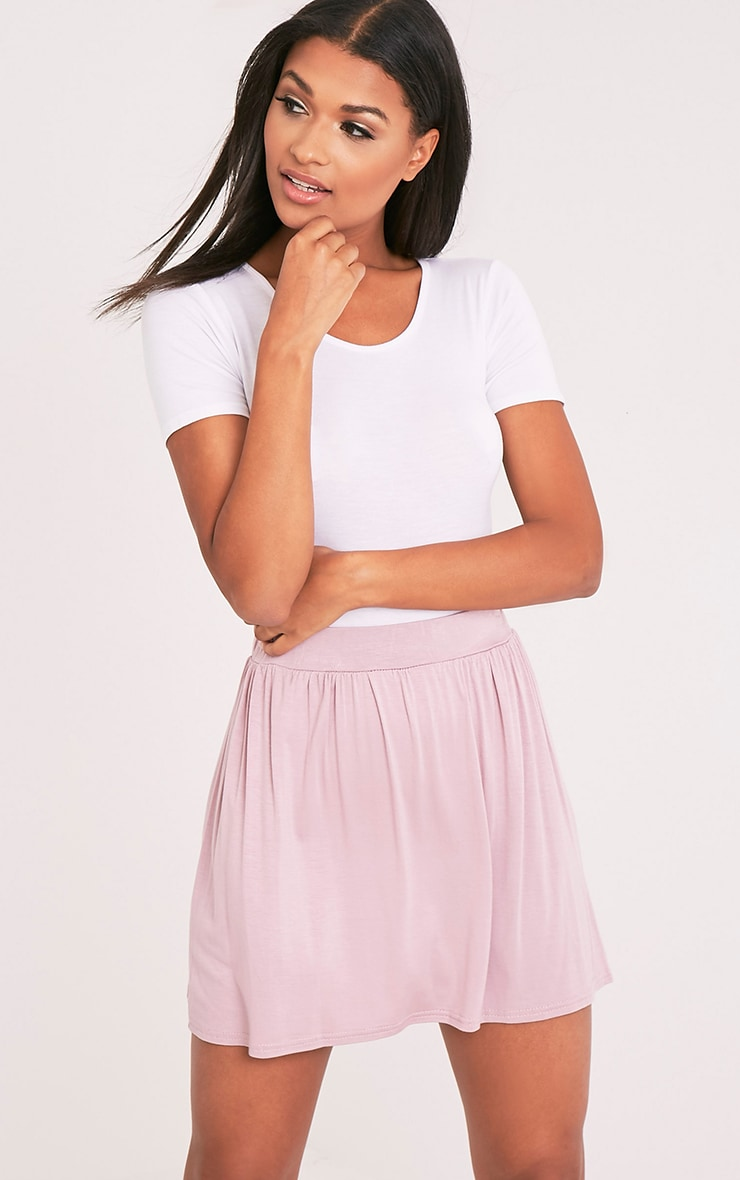 Basic Mauve Floaty Jersey Mini Skirt 1