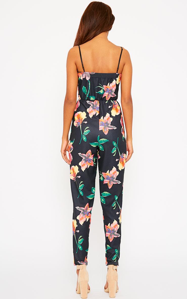Santorina Black Floral Jumpsuit 2