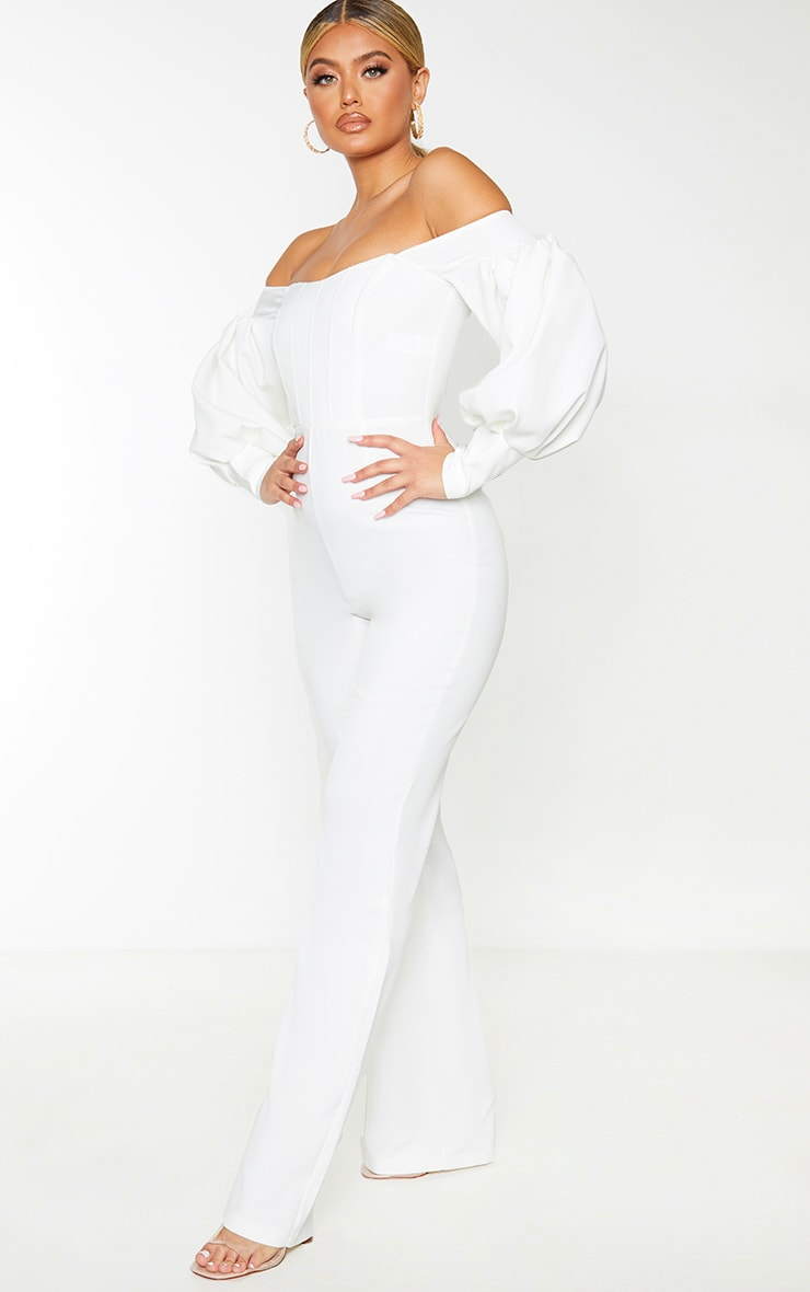 White Bardot Balloon Sleeve Corset Jumpsuit 4