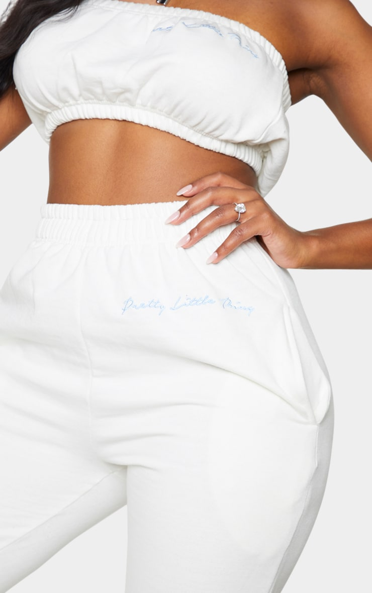 PRETTYLITTLETHING Shape Cream Embroidered Joggers 4