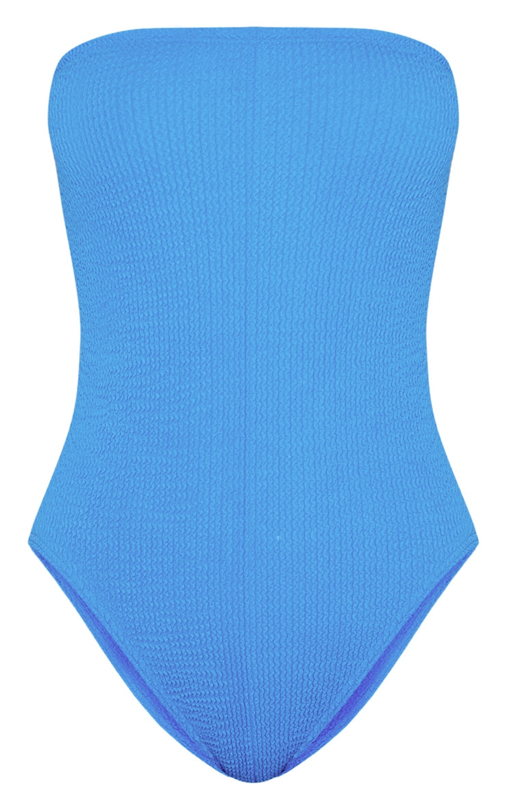 Blue Crinkle Strapless Swimsuit 7