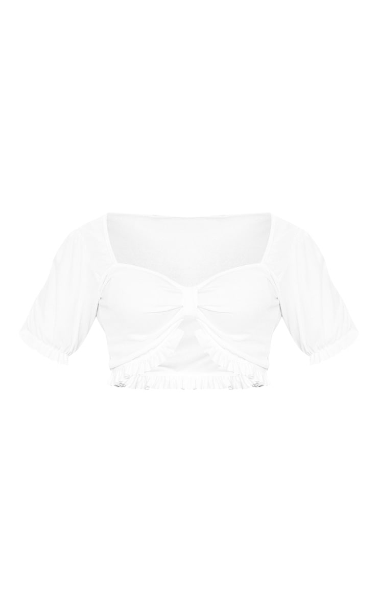 Plus White Bow Cup Detail Crop Top  3