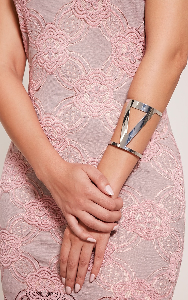 Astrid Silver Triangle Cut Out Bangle 1