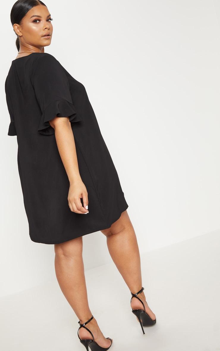 Plus Black Button Through Frill Sleeve Dress 2