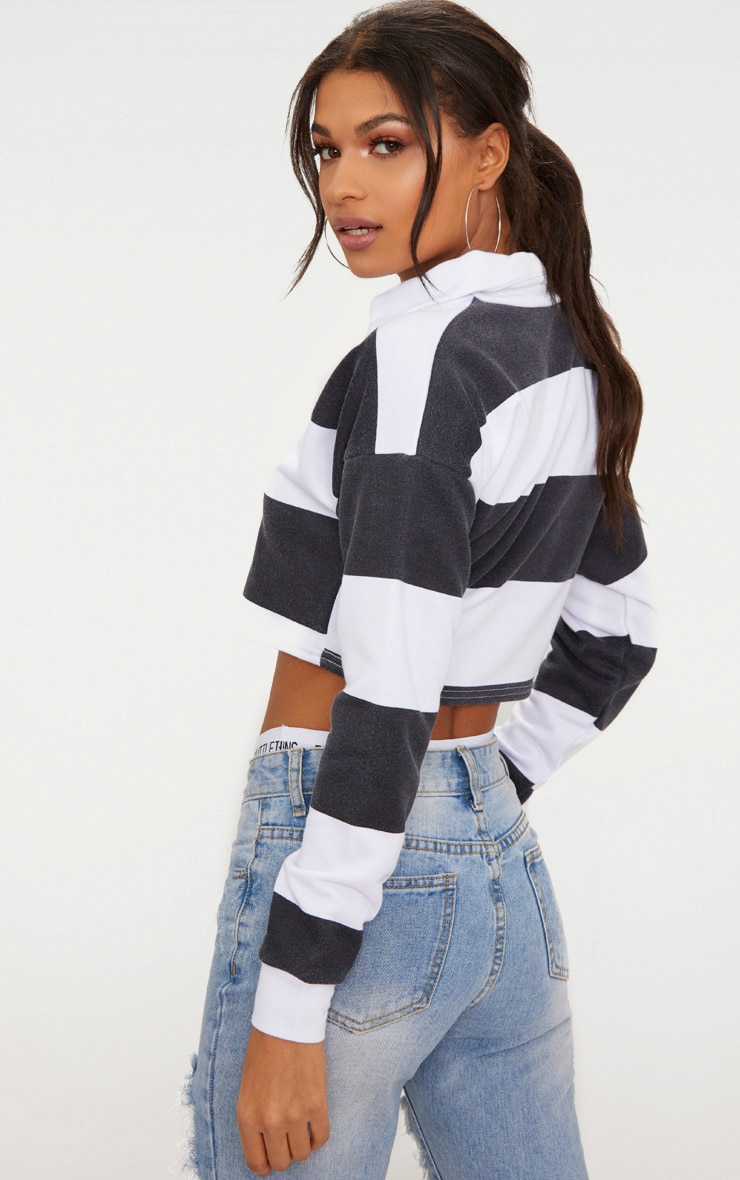 Black Stripe Collar Polo Long Sleeve Crop Top 2