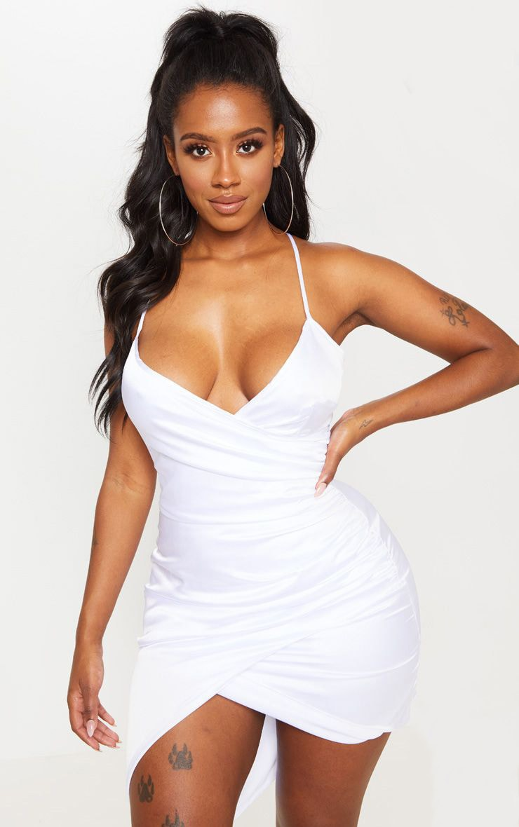 Shape White Satin Wrap Dress 1