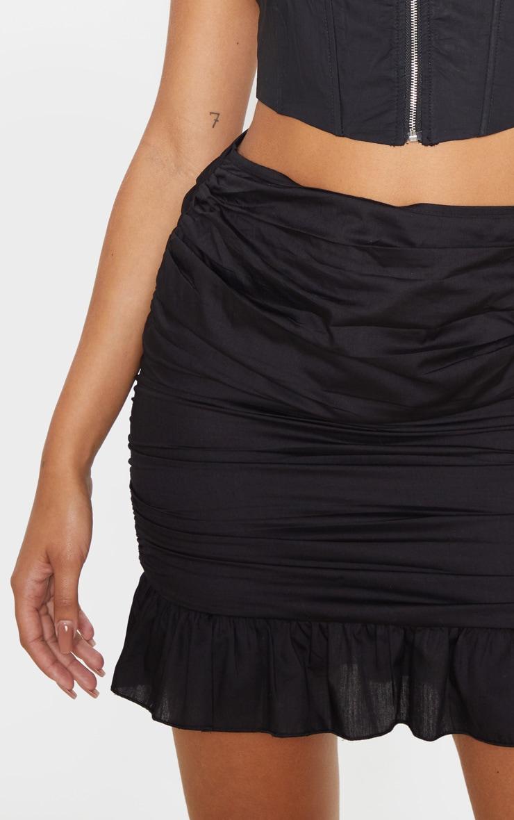 Black Woven Ruched Frill Hem Mini Skirt  6