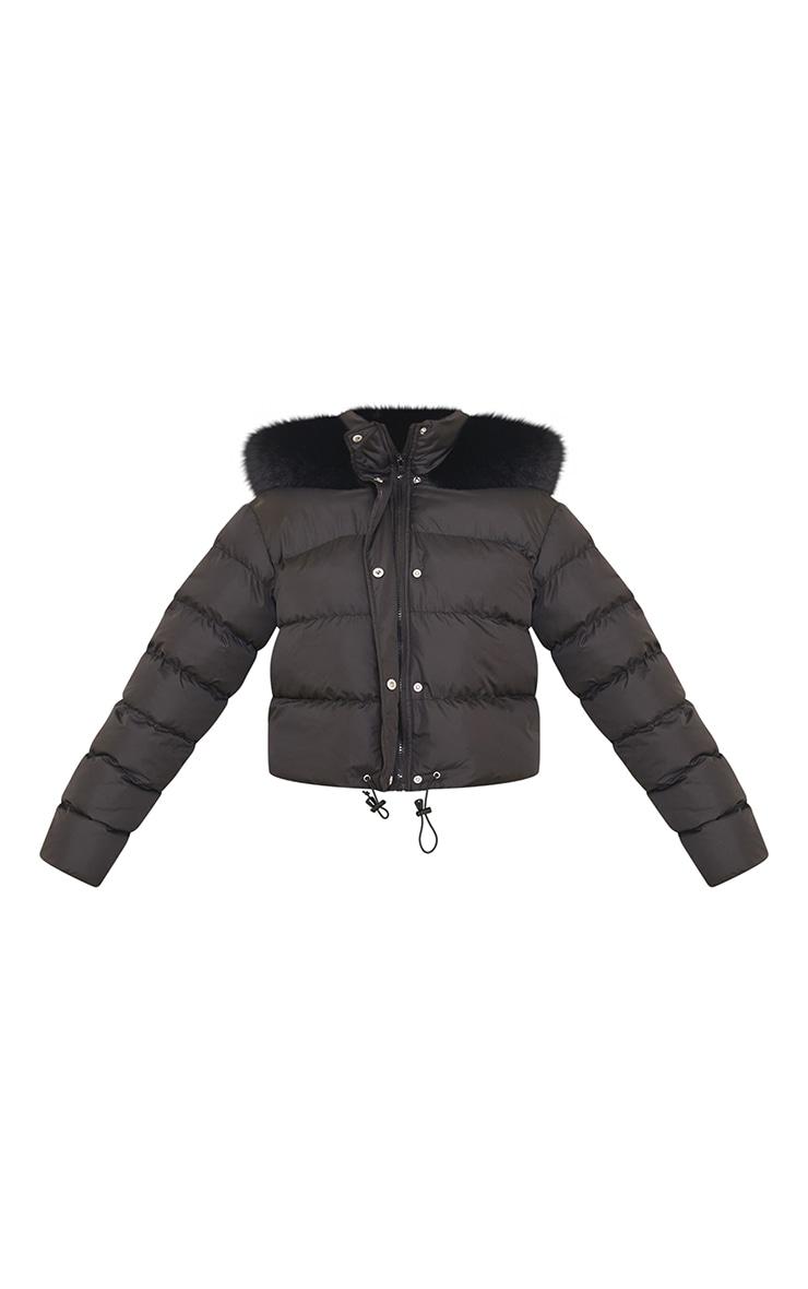Black Faux Fur Hooded Puffer Coat 5