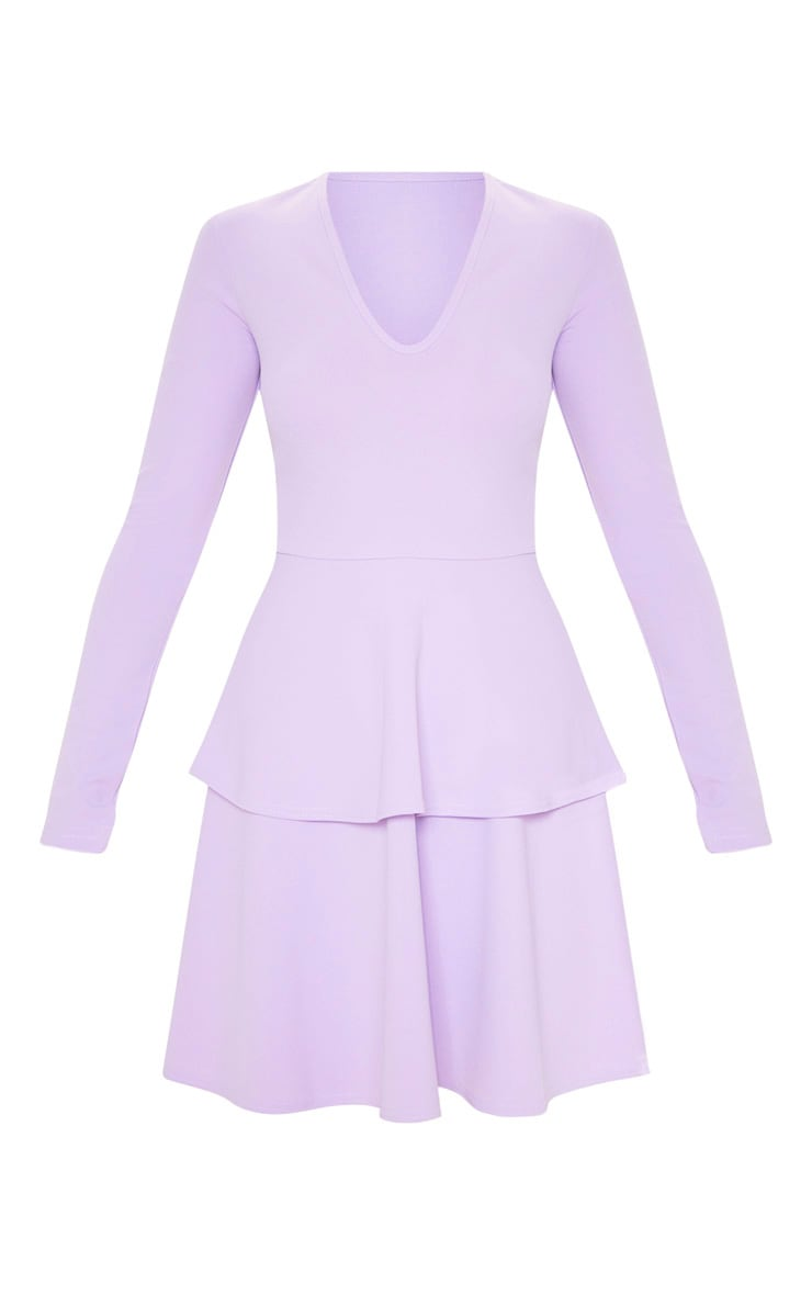 Lilac Double Tier Plunge Skater Dress 3