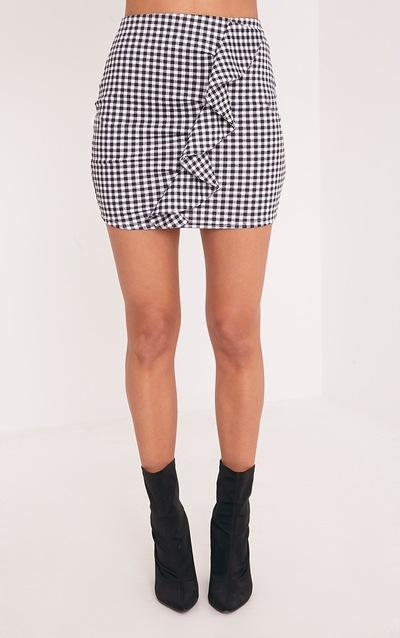 Kiana White Gingham Ruffle Mini Skirt