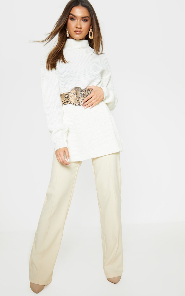 Cream High Neck Oversized Sweater 4
