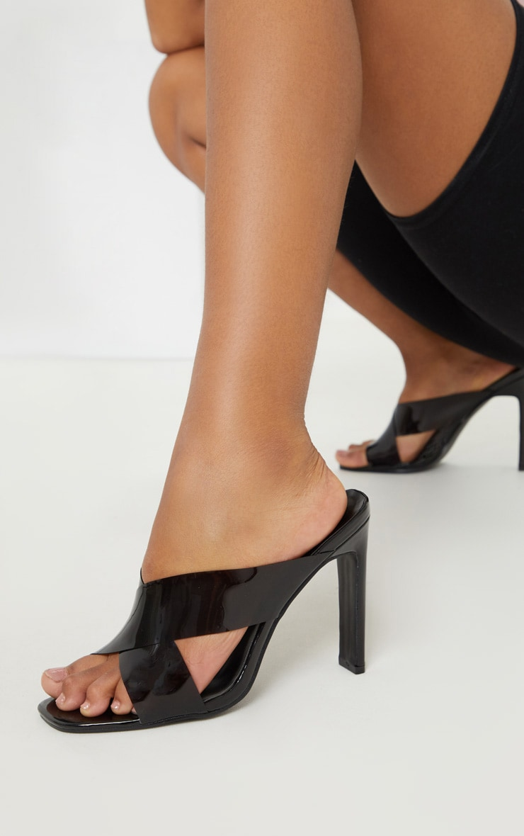 Black Flat Heel Clear Mule Sandal 1