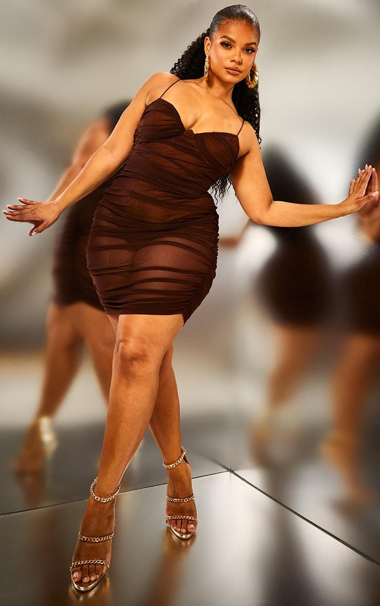 Plus Brown Ruched Mesh Underwire Bodycon Dress 3