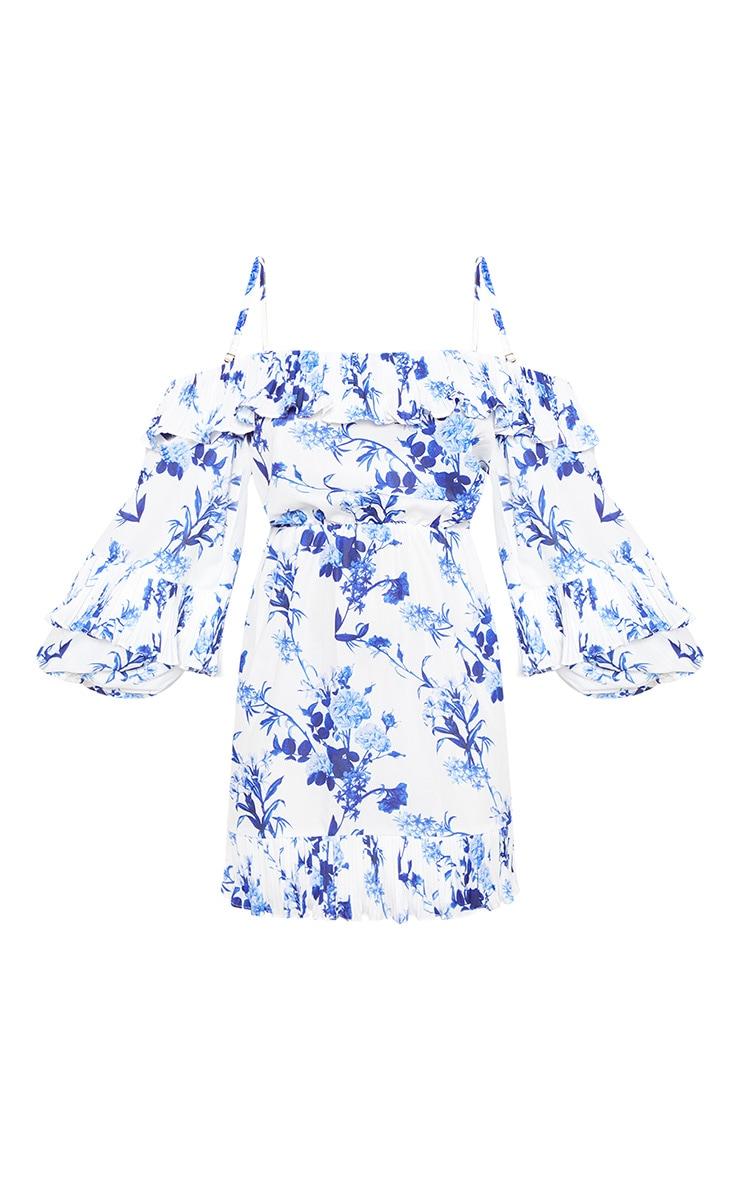 White Floral Print Flute Sleeve Skater Dress 3