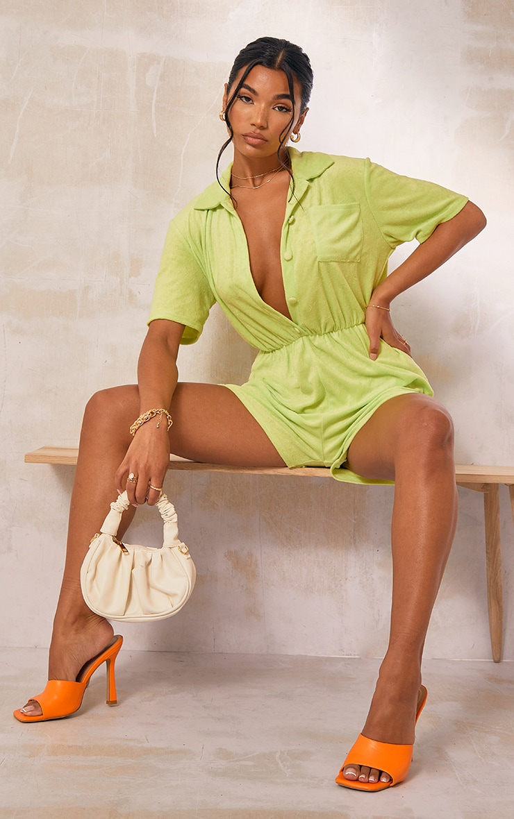Pale Green Towelling Short Sleeve Shirt Romper 1