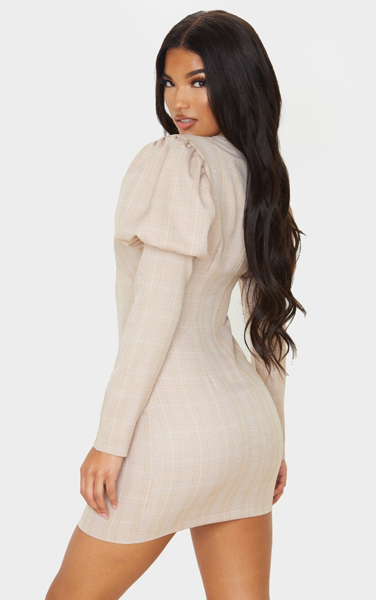 Beige Check Long Sleeve Puff Shoulder Bodycon Dress 2